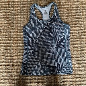H&M workout tank top navy green white athletic